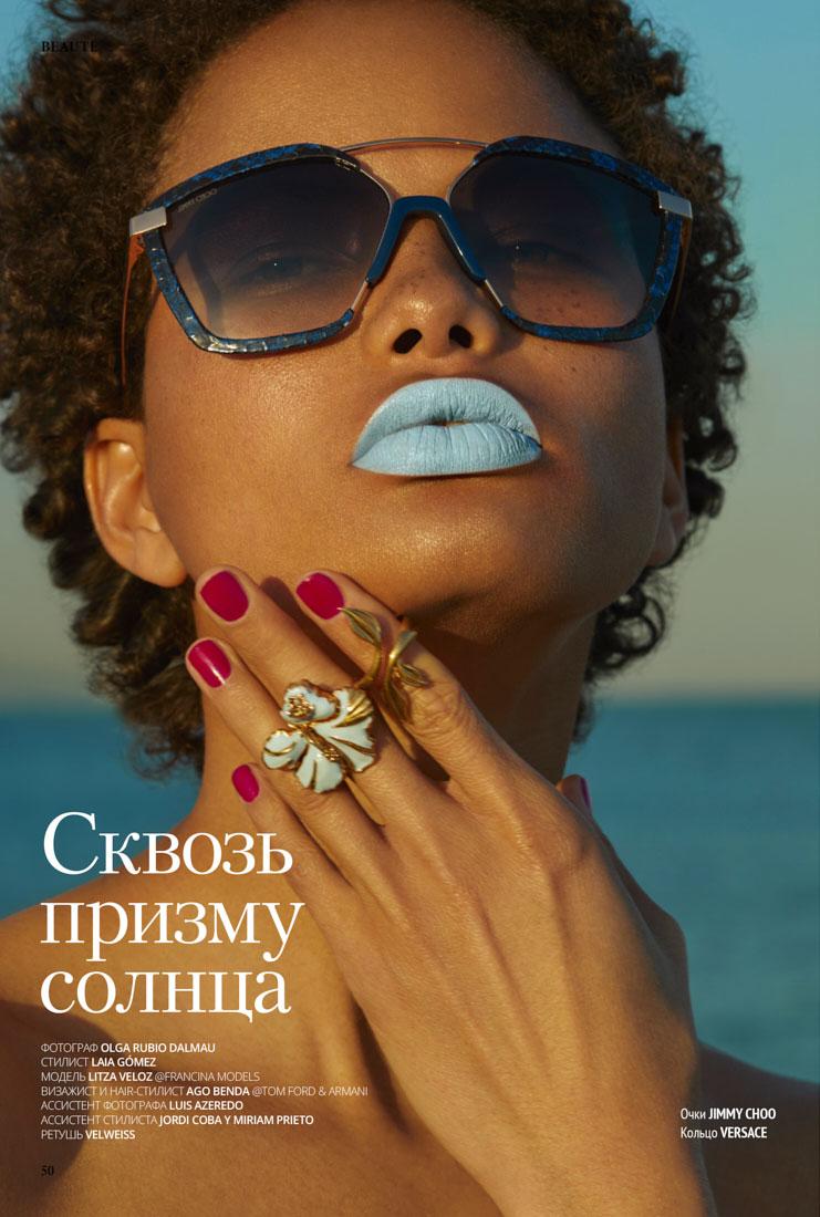 Beauty editoria,l for l´officiel, sunglasses, with top model Litza Veloz by Olga Rubio Dalmau , Chanel sunglasses